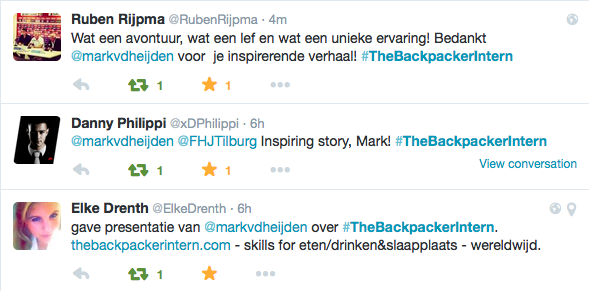 Tweets about The Backpacker Intern presentation in Tilburg