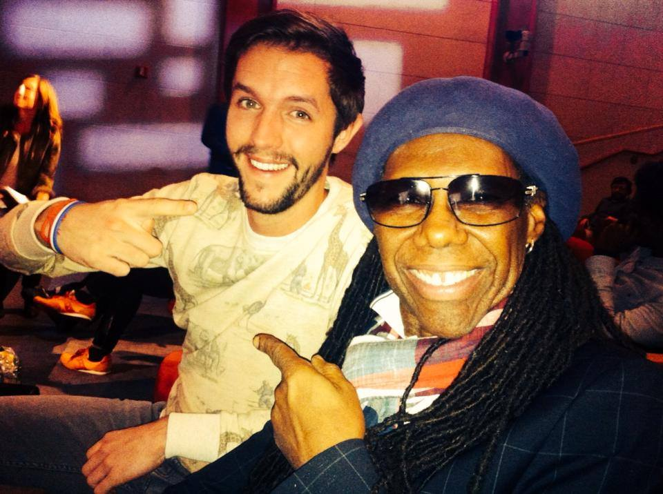Mark van der Heijden (The Backpacker Intern) with Nile Rodgers