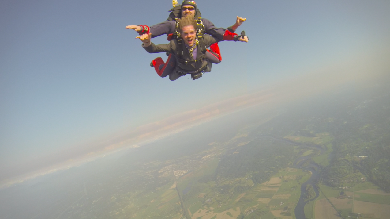 The Backpacker Intern jumping out of airplane