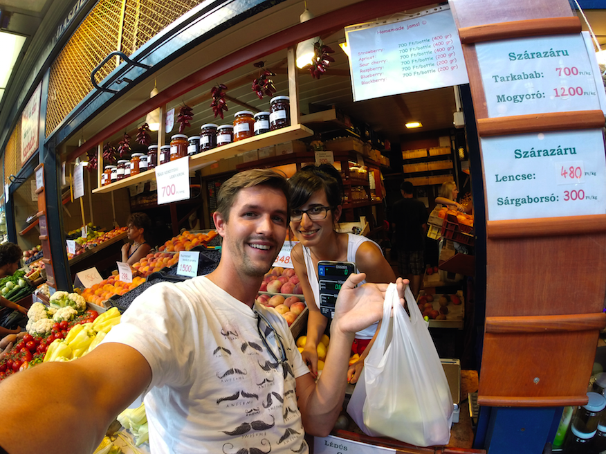 The Backpacker Intern buying groceries in Budapest