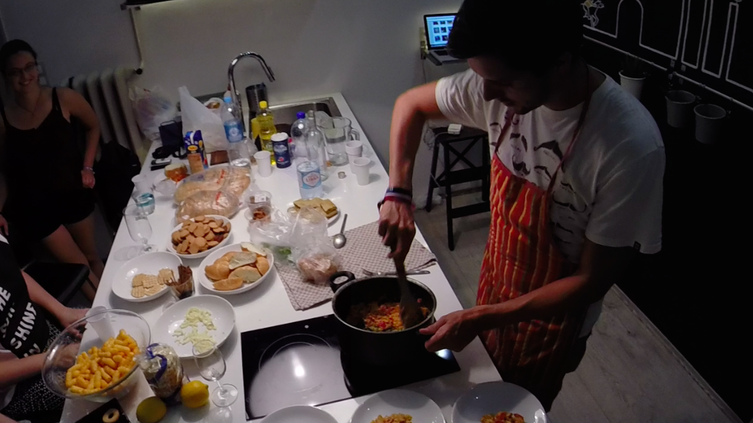 The Backpacker Intern Cooking Letcó for Insomnia Crew