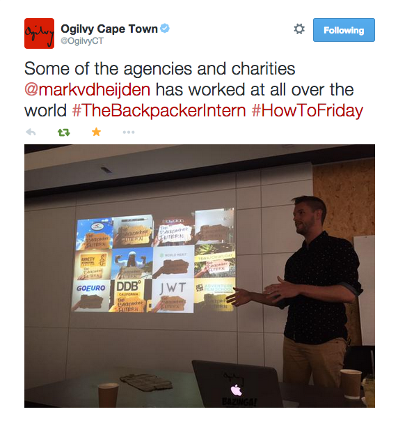 Ogilvy Cape Town Tweet The Backpacker Intern #HowToFriday